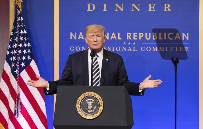 President Donald Trump speaks at the National Republican Congressional Committee March Dinner at the National Building Museum on March 20 in Washington, DC.
