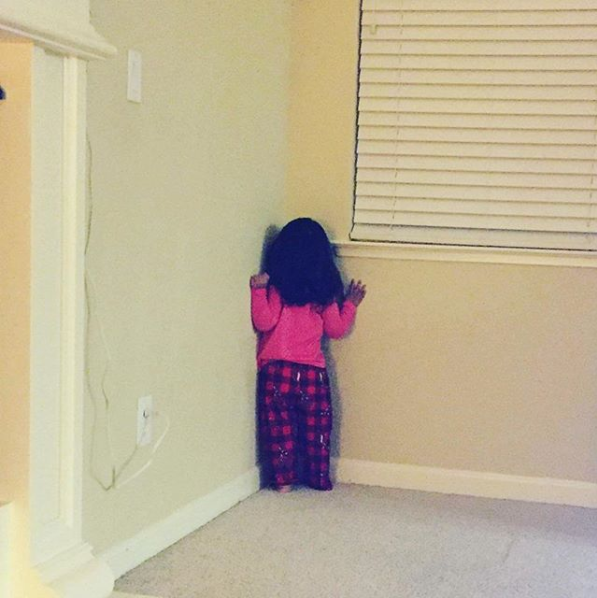 This kid, who puts herself in the corner when she doesn't like  your  behavior