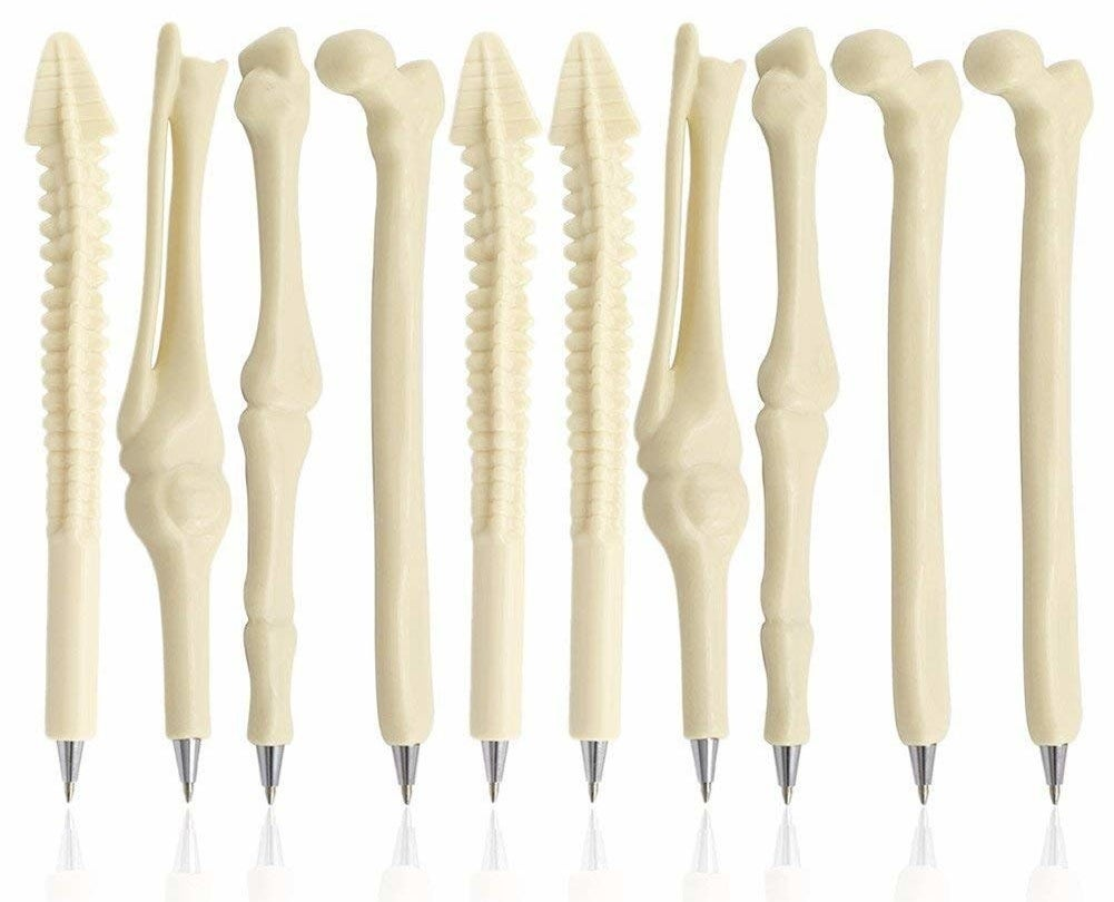 spine and bone-theme writing pens