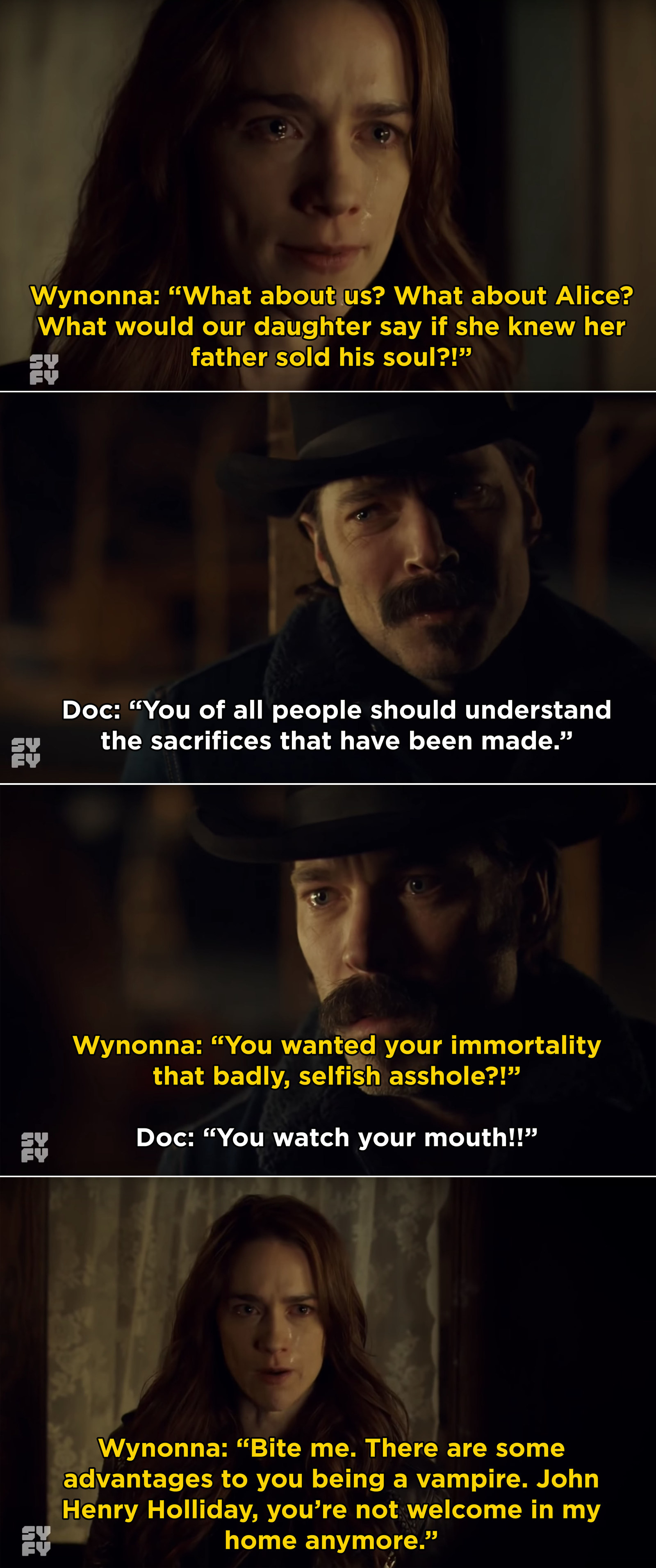 In  Wynonna Earp , Doc decided to become a vampire in order to stay immortal, leading to this heartbreaking moment between him and Wynonna.