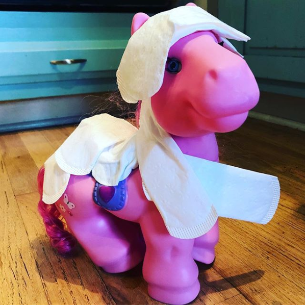 And this kid, who put his mom's pantyliners on the pony, because why not