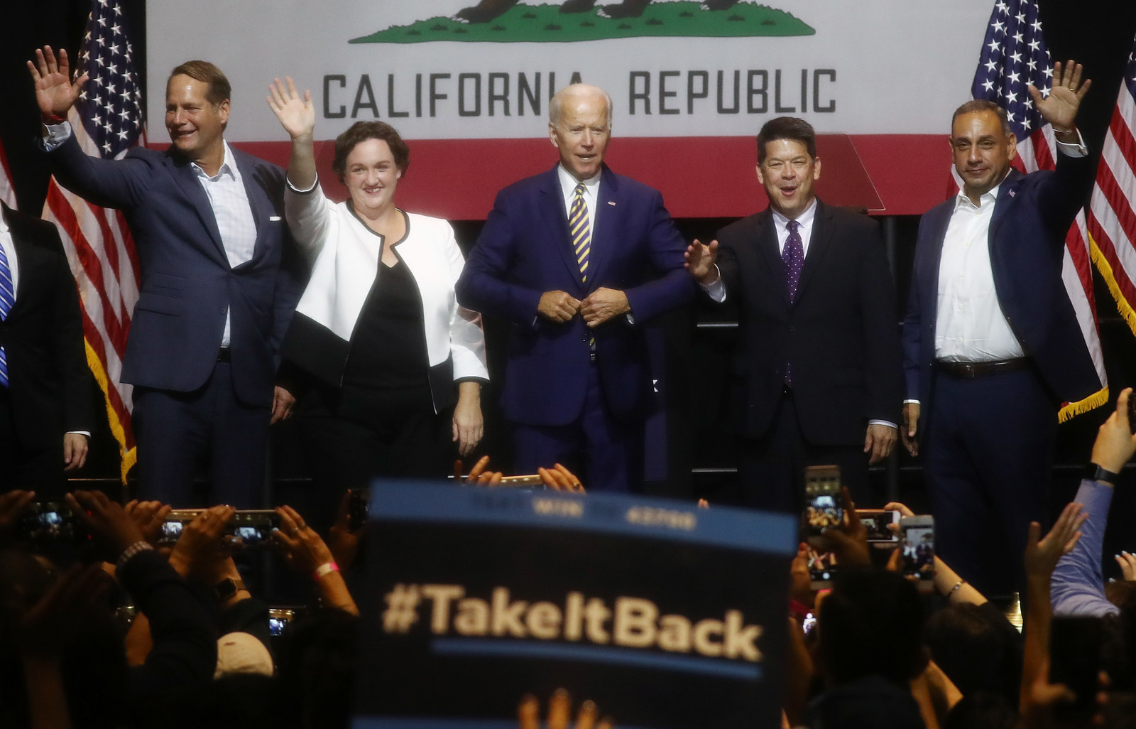 Former Vice President Joe Biden campaigns with Democratic candidates Harley Rouda, Katie Porter, TJ Cox, and Gil Cisneros. All four won their congressional races after three trailed their Republican counterparts on election night.