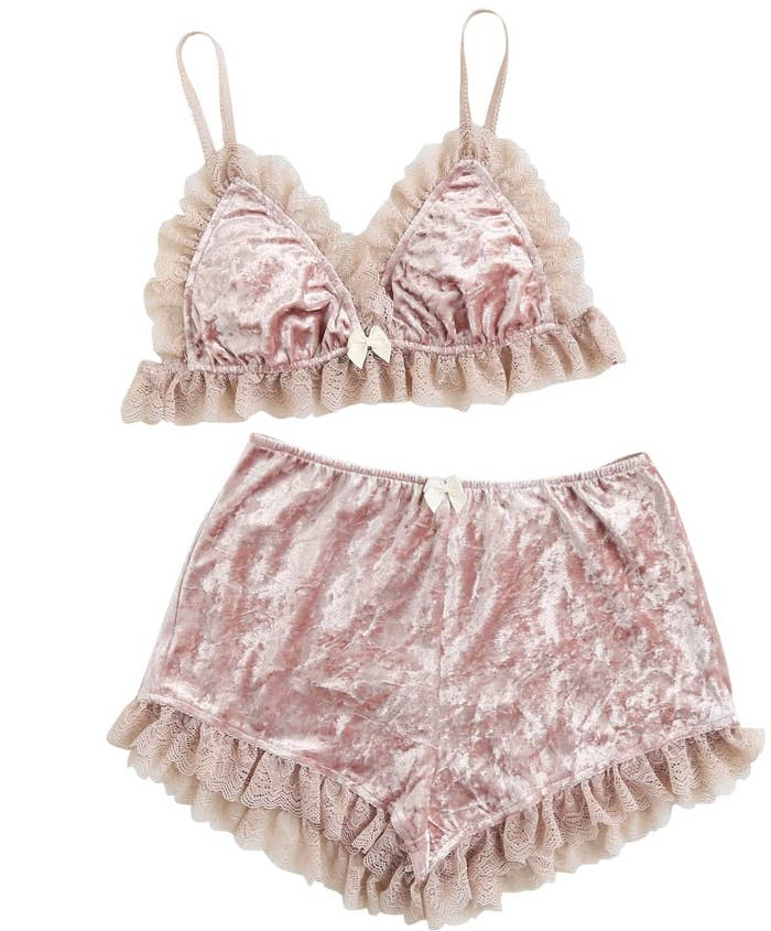d445b98170e A lace-trim velvet bralette and shorts set that ll be comfortable enough  for them to sleep in — their love for fancy undergarments never rests