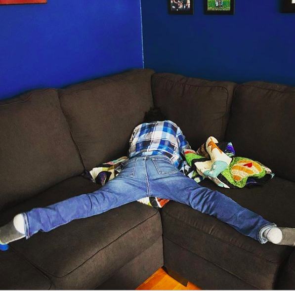 This kid, who wanted to make the most of having a sectional couch