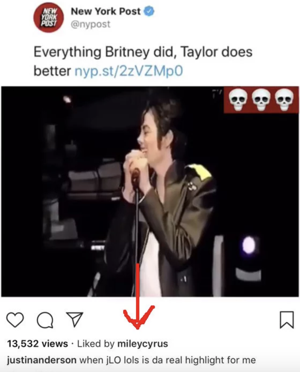 When Miley Cyrus liked this post that shaded Taylor Swift: -  (The video is all people laughing.)