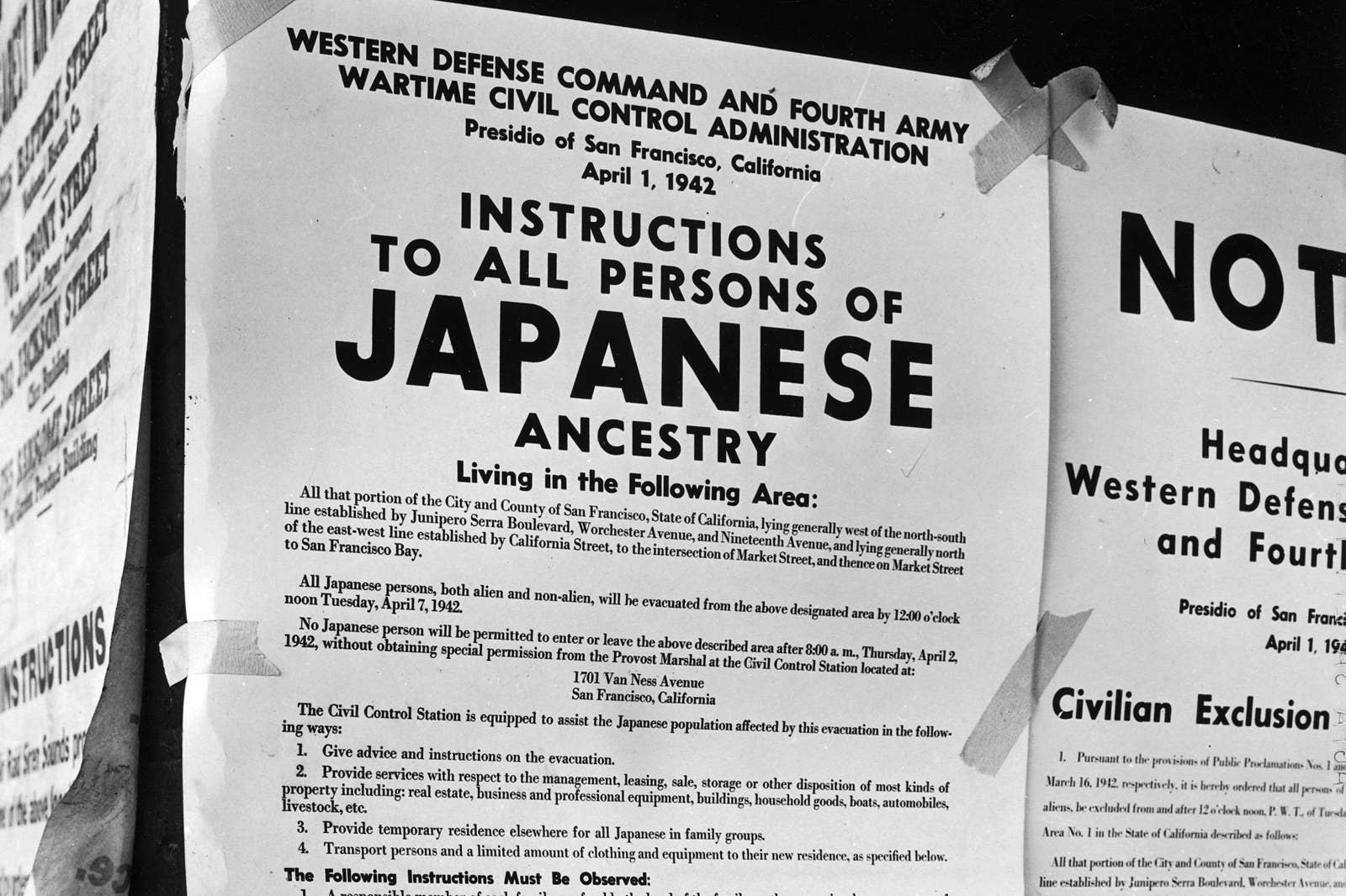 Posted notice informing people of Japanese ancestry of imminent relocation rules due to fears of treason and spying during the early years of WWII.