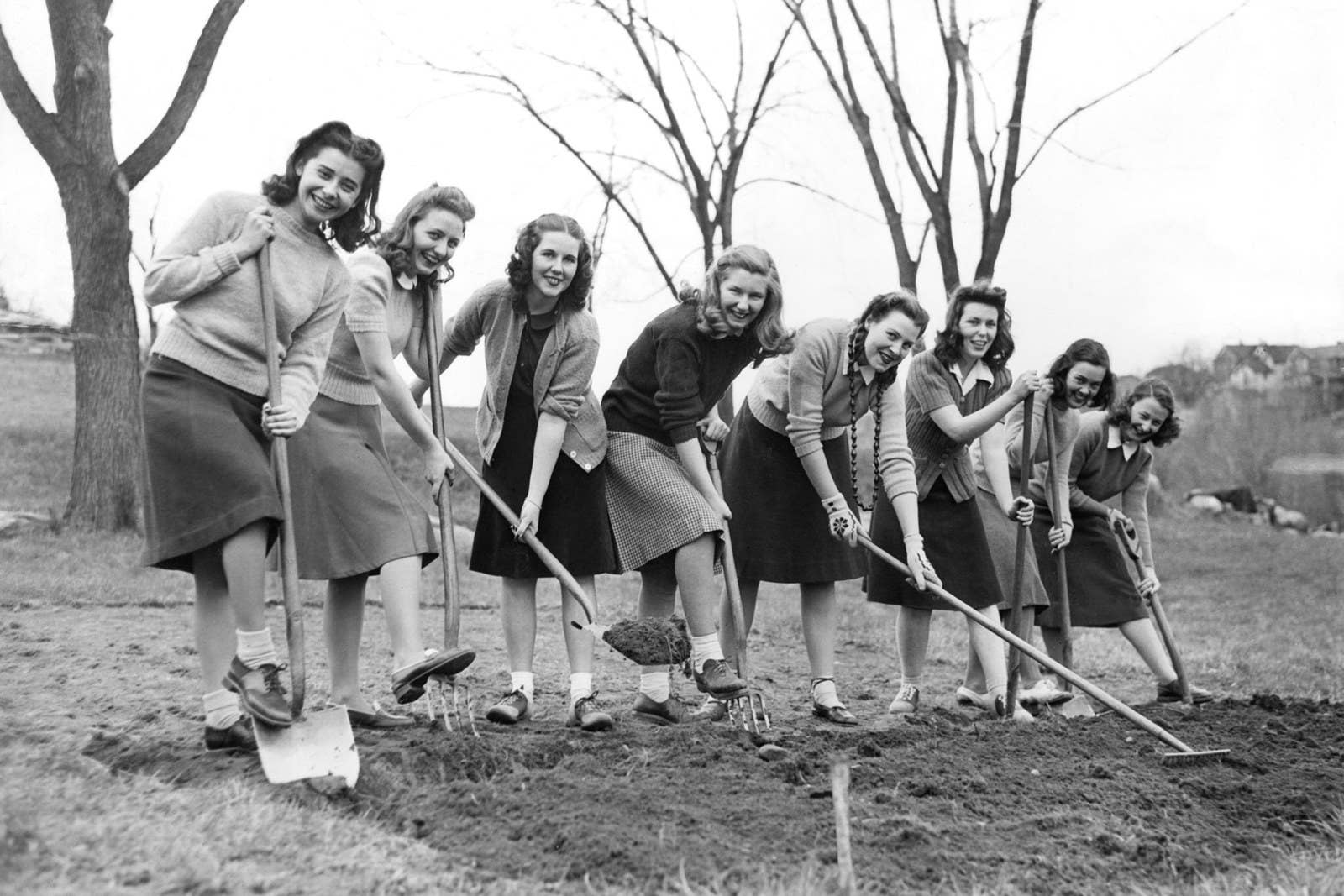 Freshmen girls at Good Counsel College in White Plains, New York, break ground for a WWII victory vegetable garden on April 23, 1942.