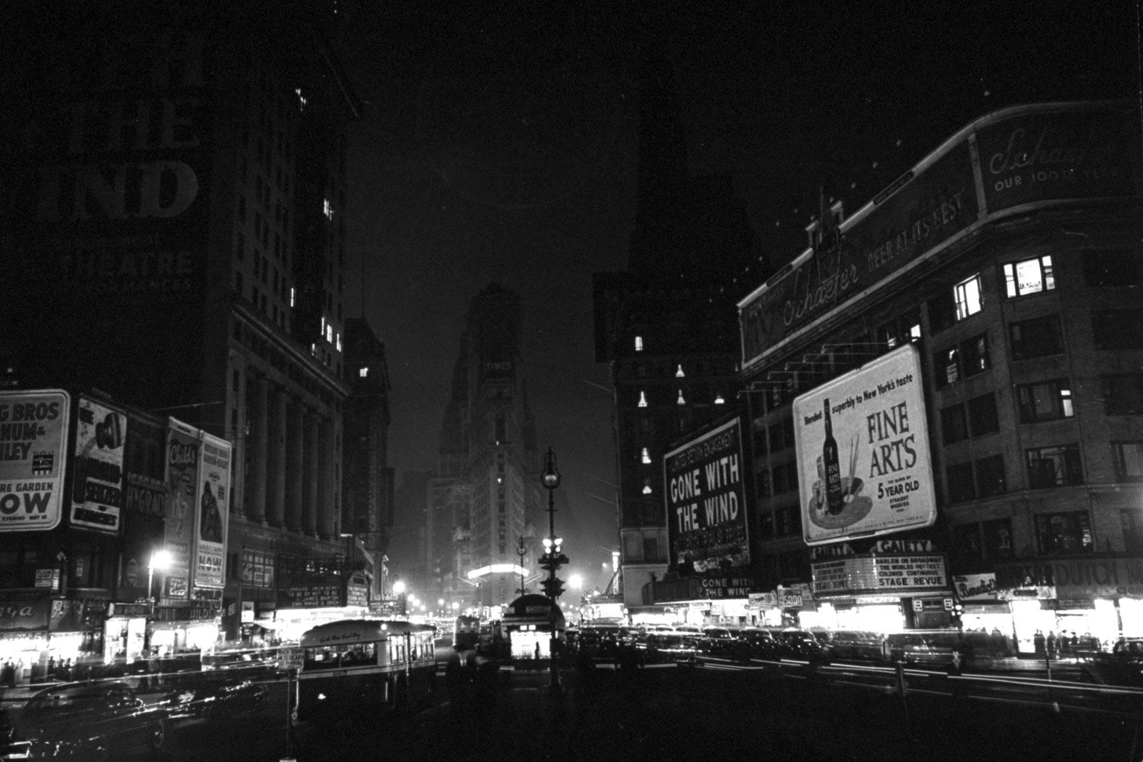 Lights in Times Square are dimmed to conserve energy on March 31, 1942.