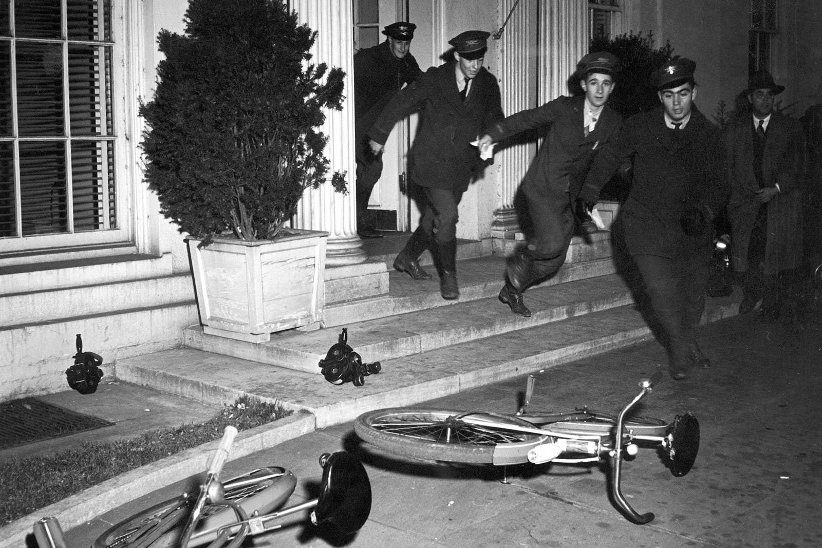 Western Union messengers leave the White House on Dec. 7, 1941, with new information on the Pearl Harbor attack.