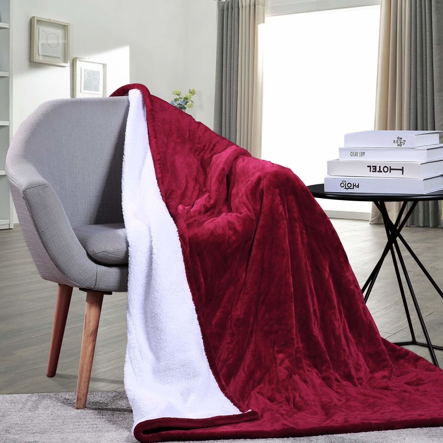 A red blanket draped on a chair