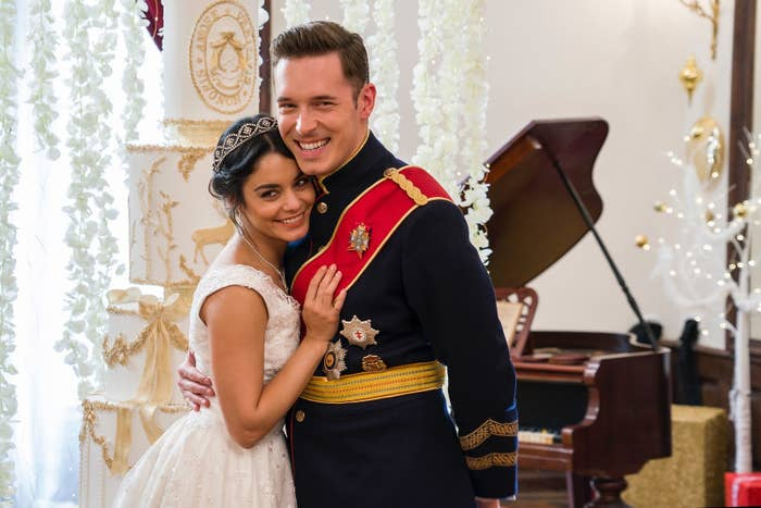 Stacy (Vanessa Hudgens) and Edward (Sam Palladio) in The Princess Switch.