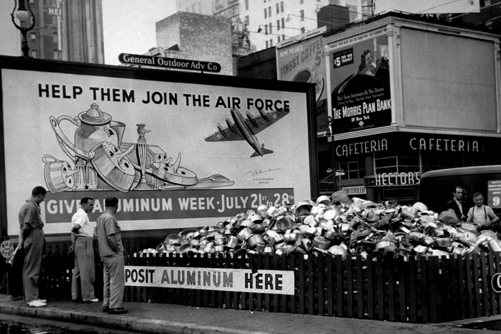 Aluminum is collected at an undisclosed location as part of the war effort, circa 1941.