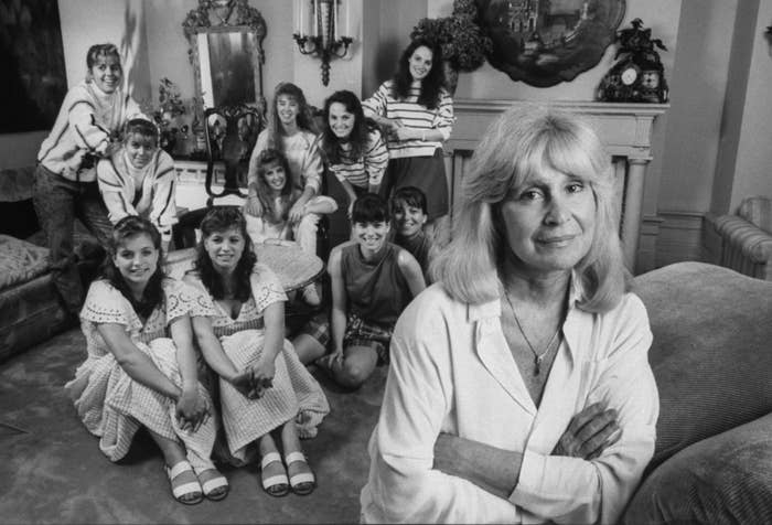 Author Francine Pascal with five sets of identical twin actors auditioning for the TV series based on her Sweet Valley High book series.