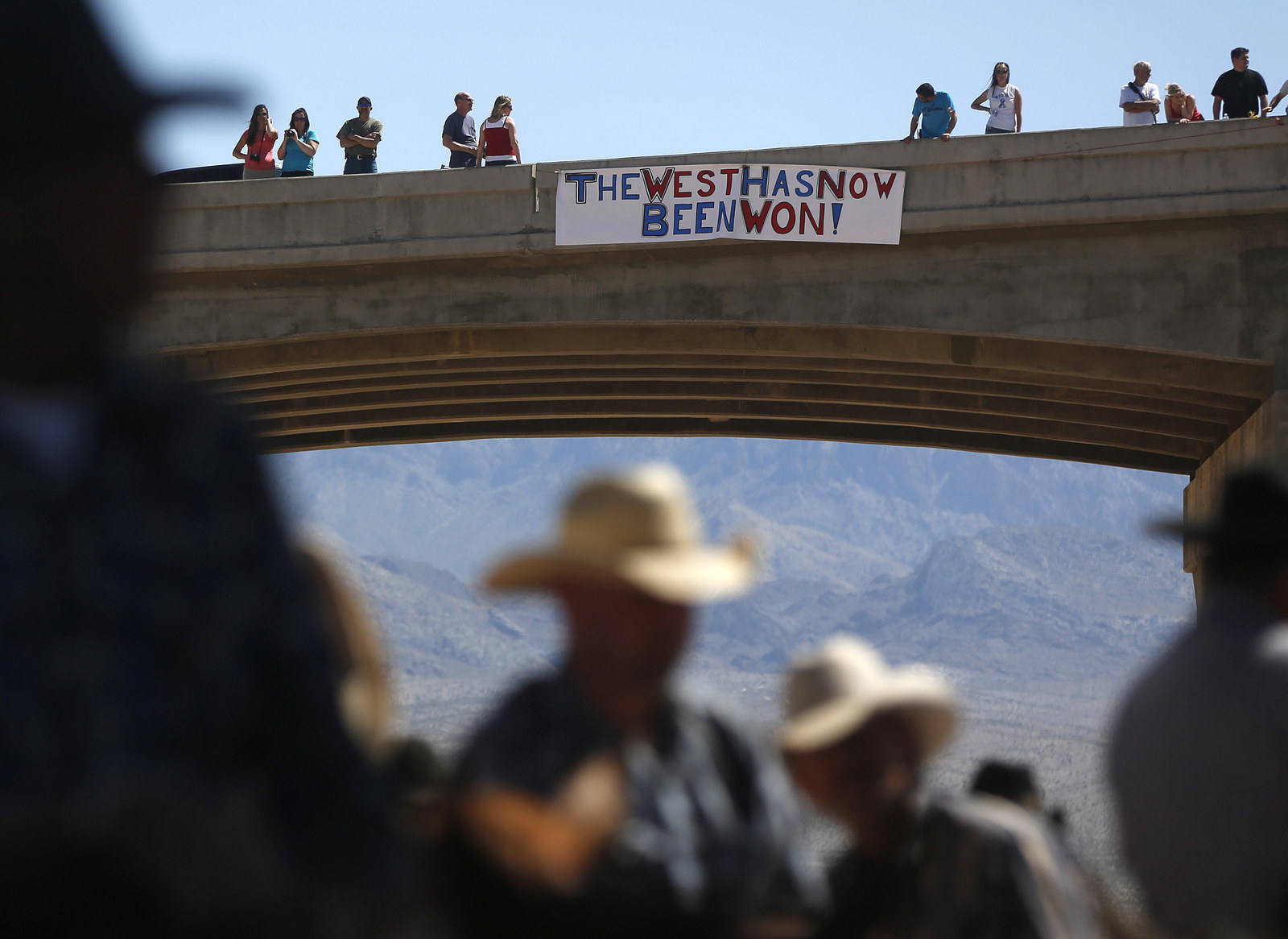 Protesters gather for rancher Cliven Bundy near Bunkerville, Nevada, in April 2014.