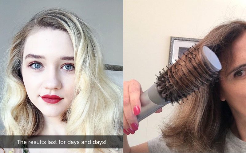 """Left: The author having used the photo with text """"the results last for days and days"""" / right: a reviewer using the round tool to blow out their hair"""