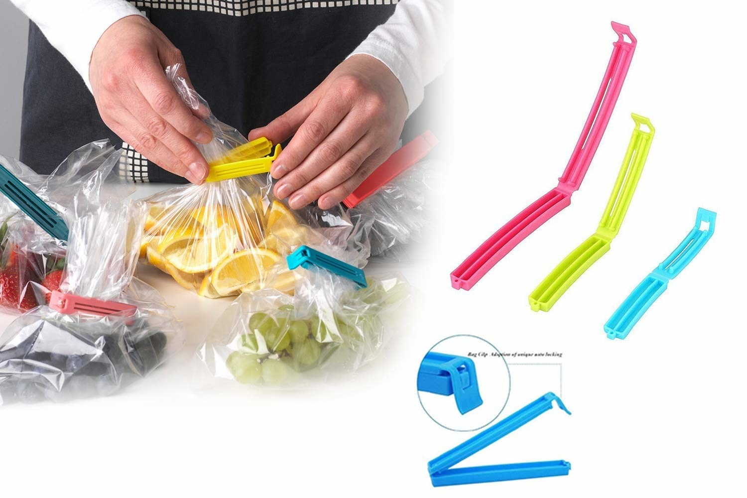 A person sealing different cut fruits in a plastic bag with different coloured clips
