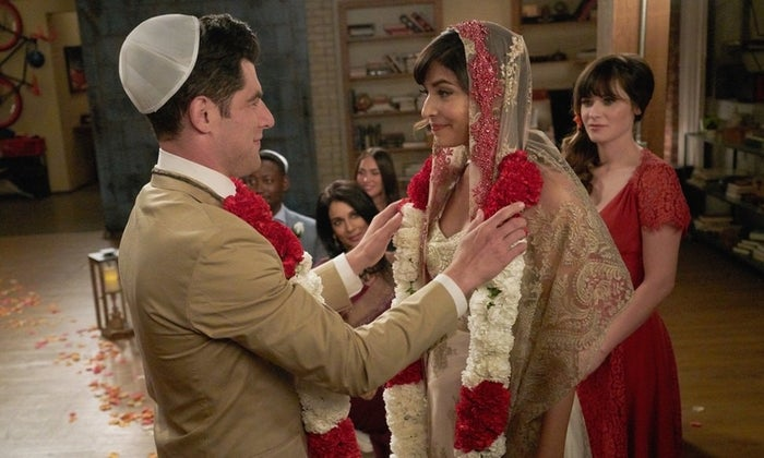 """""""I know Nick and Jess get all the attention, but Cece and Schmidt are just as amazing. I'll never get over the 'chuta-nay' bit in the early days between them, and the episode where he buys a room full of flowers after finding out she's pregnant made me tear up a bit!""""—jasminnahar"""