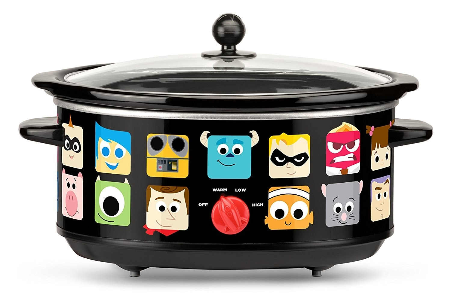 The black slow cooker with illustrated icons of Disney and Pixar characters like Sully, Joy, Woody, Nemo, and more