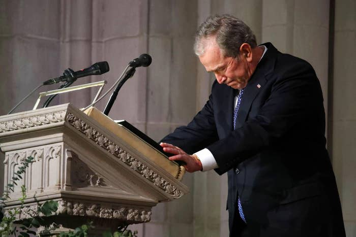 Former president George W. Bush speaks at the state funeral for his father at the National Cathedral on Dec. 5, in Washington, DC.
