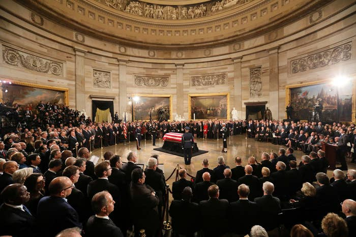 The casket of late president George H.W. Bush arrives inside the US Capitol Rotunda where it will lie in state, on Dec. 3.