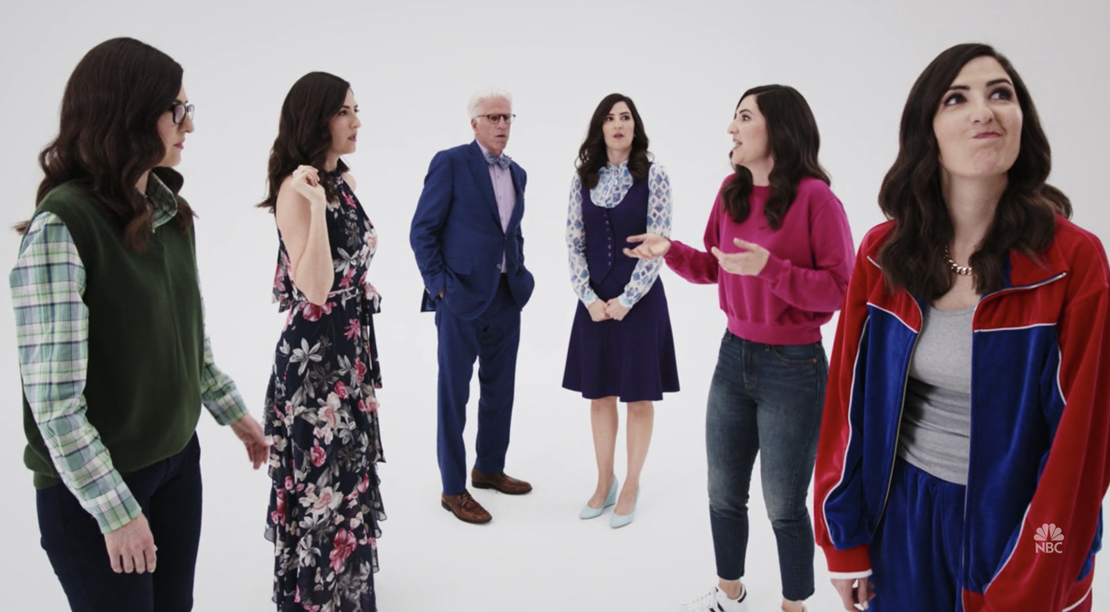Ted Danson gave D'Arcy advice during different bits she had to do of Jason, Tahani, Eleanor, and Chidi.