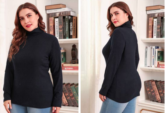 model wearing the turtleneck with jeans
