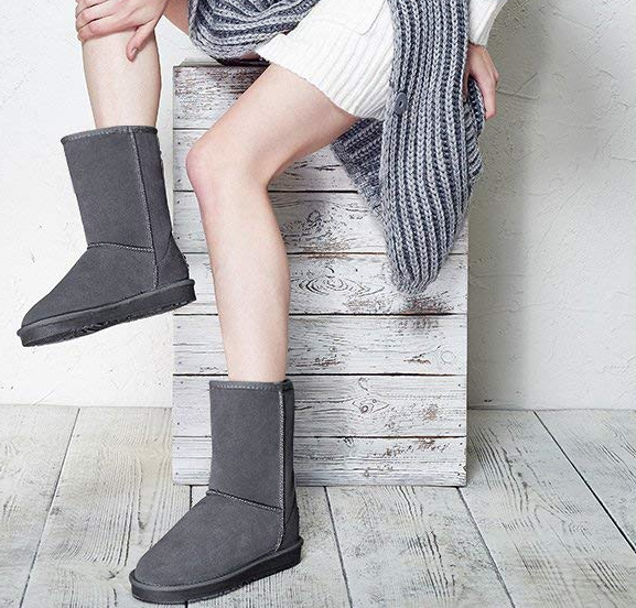 model wearing the gray boots