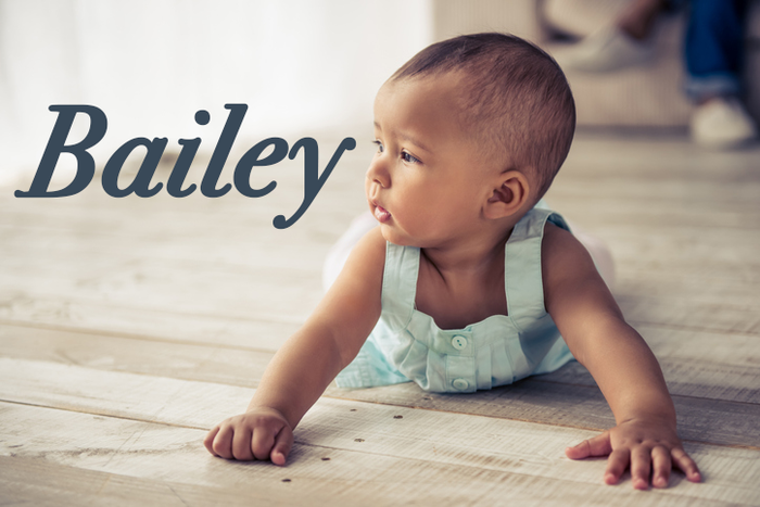 Bailey originated as an English and French surname meaning an officer of the law (bailiff) or a royal or official building.