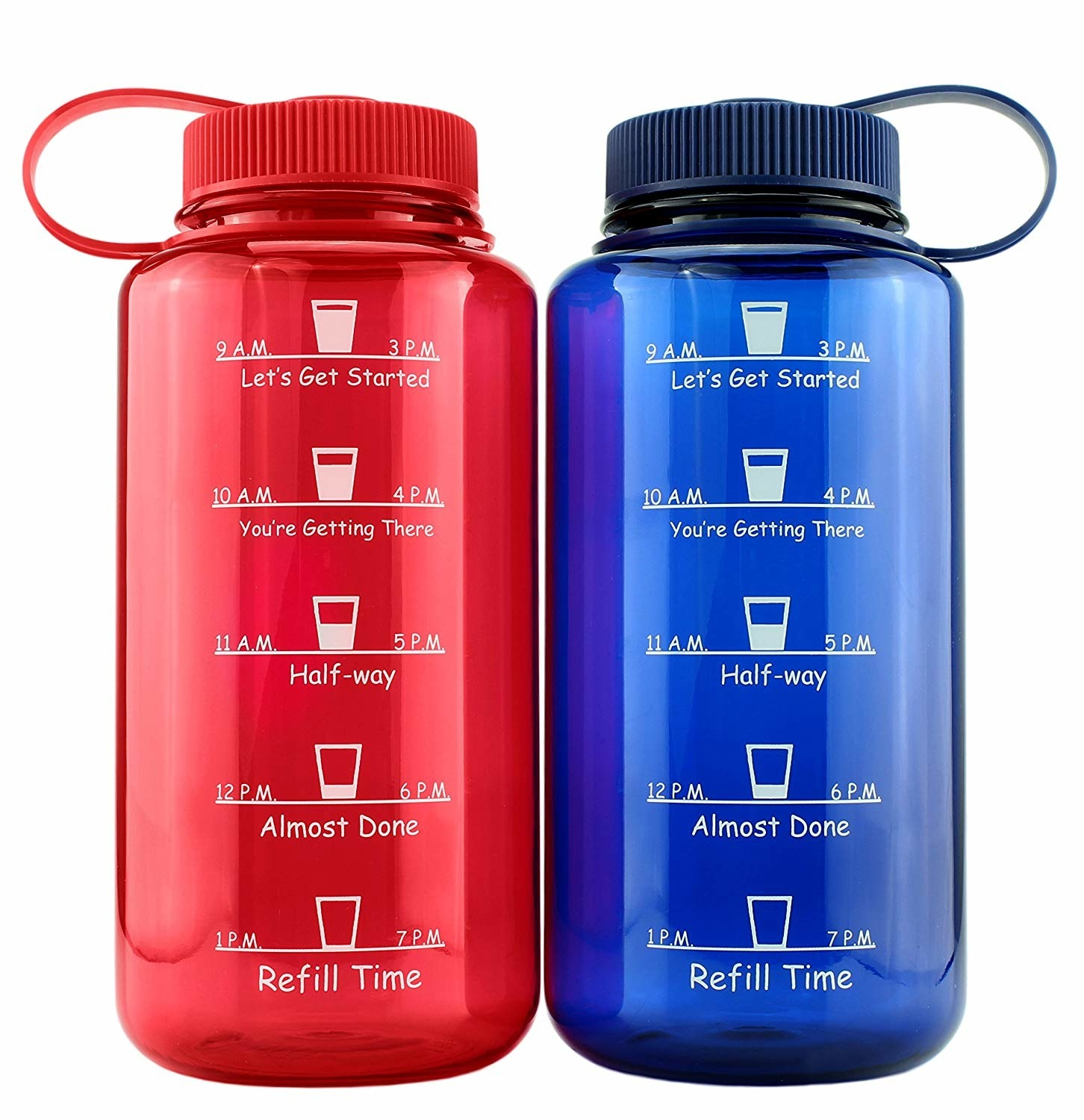 two water bottles with markings on the side about when to finish drinking the water