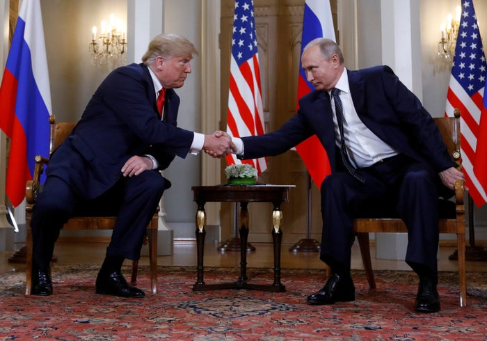 President Donald Trump and Russian President Vladimir Putin at their meeting in Helsinki, Finland, on July 16.