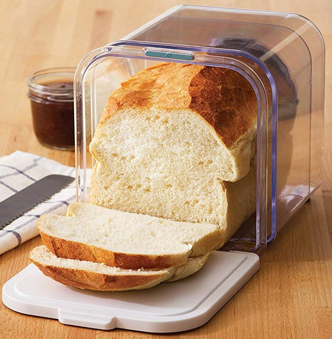 """The bread box is dishwasher-safe and BPA-free, and expands to fit various loaf sizes. It also features air vents you can adjust to keep your bread fresh and closes with magnetic snaps.Promising review:""""I've been baking bread for quite a while now. And until I got this bread keeper, my bread would go stale in about three days, if I left it out. I could extend it to four days, if I put it in a plastic bag. But there would definitely be mold by the fifth day. But with this bread keeper, I've seemed to be able to keep bread fresh for over a week. The crust definitely gets soft. But there is no mold. And after about 10 days, it is only stale around the edges."""" —Casen DavisGet it from Amazon for$19.28."""