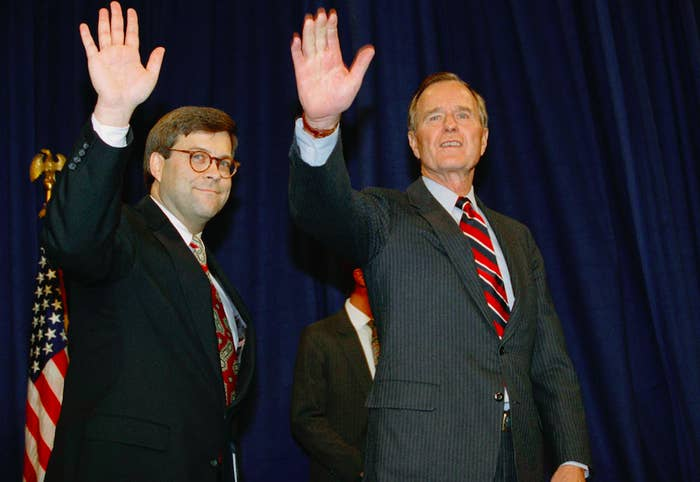 William Barr, left, with President George H.W. Bush in 1991.