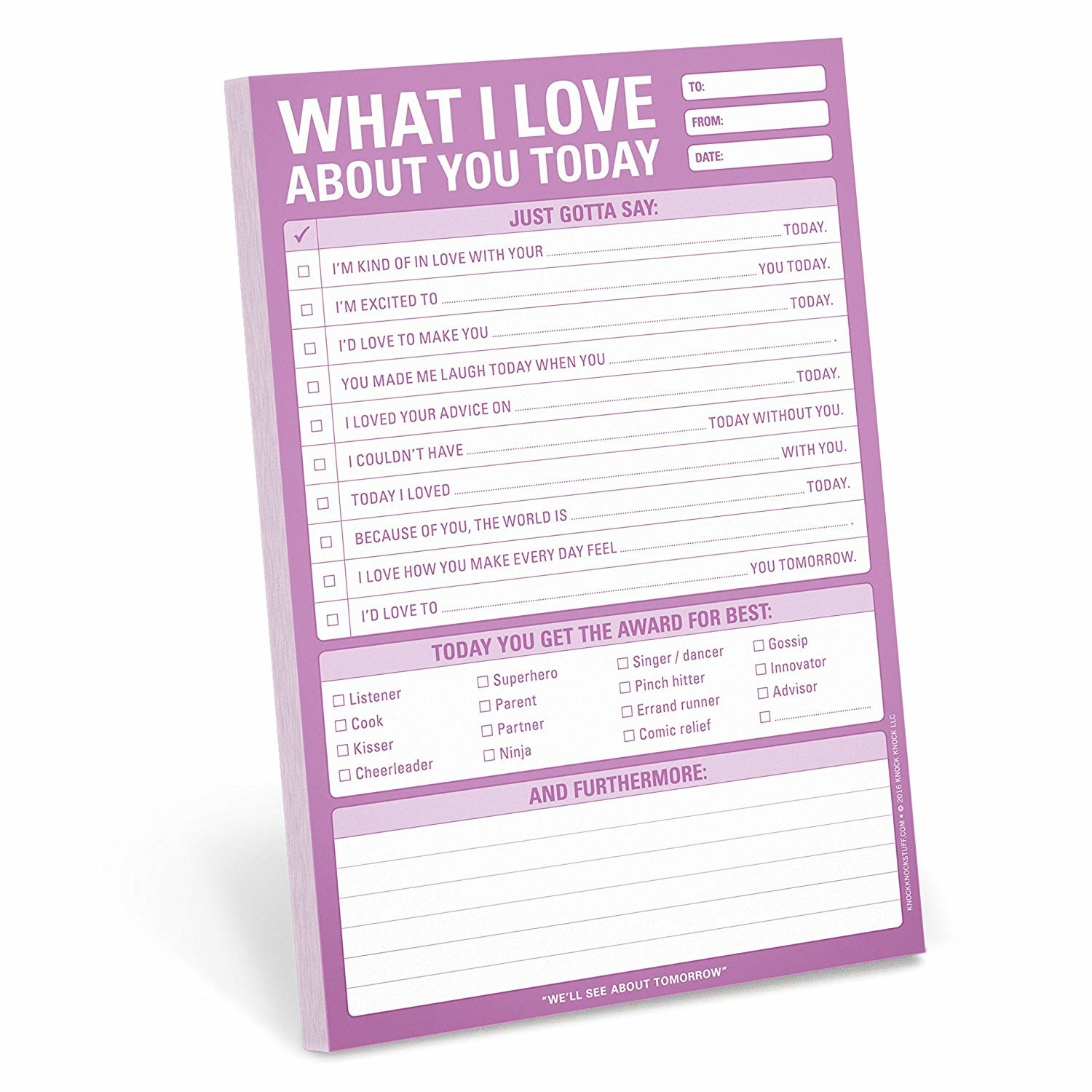 "the ""what I love about you"" notepad with suggestions of what to say"