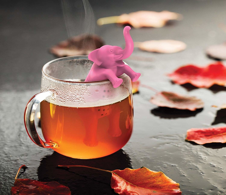elephant looking tea diffuser in a tea cup