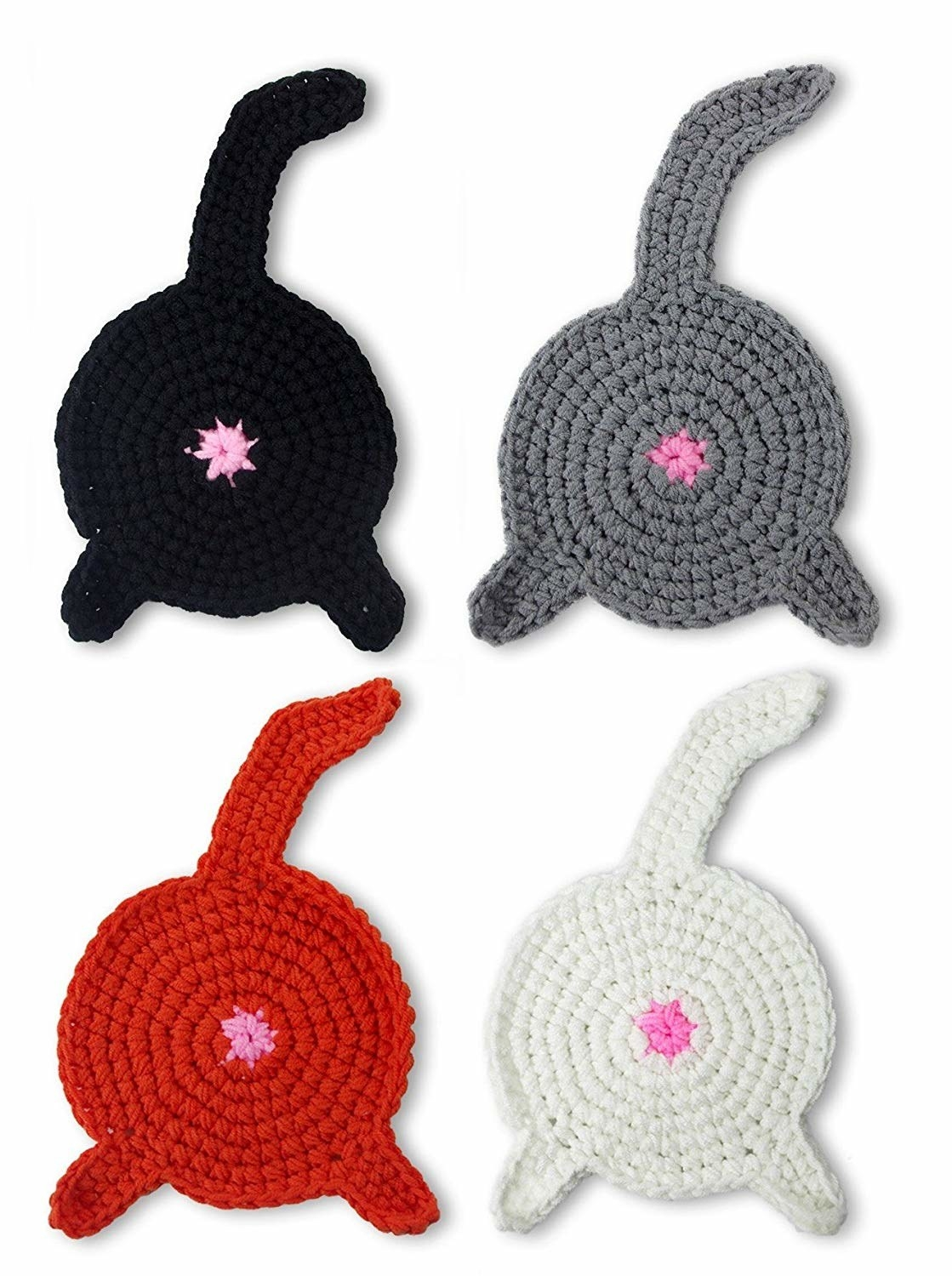 crochet coasters that look like cat butts