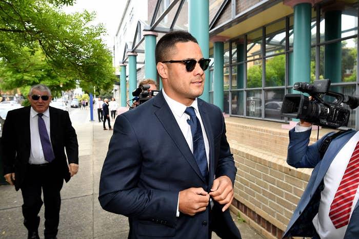 Jarryd Hayne arrives at court.
