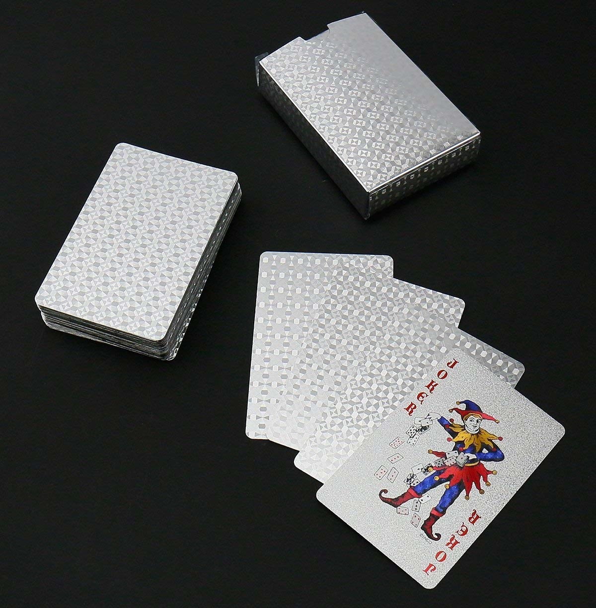 The cards with a patterned metallic design