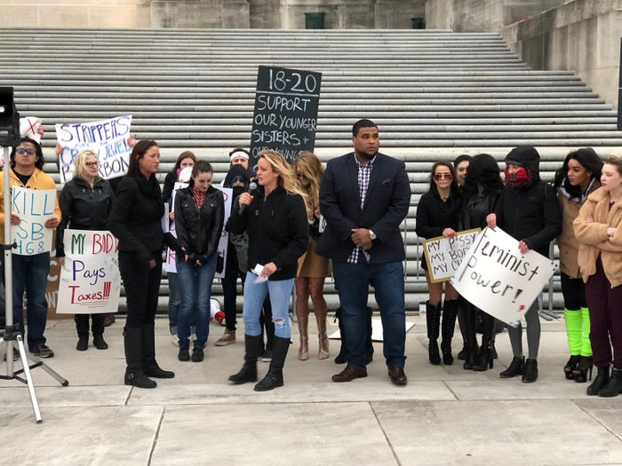 Stormy Daniels rallies in front of the Louisiana statehouse to protest a new law barring women under 21 from working as strippers.