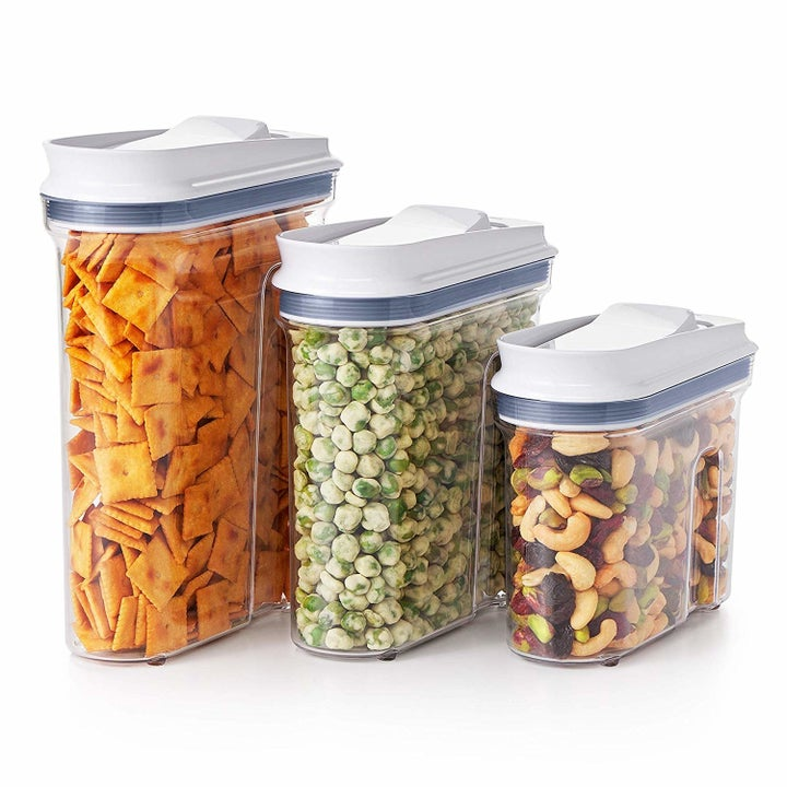 The three rectangular containers with curved fronts, one large, one medium, and one small