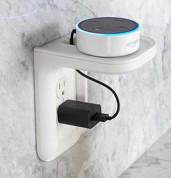 The outlet shelf with an Echo Dot sitting on it