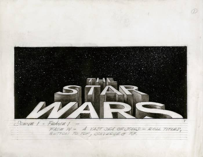 The first drawing of the roll-up that opens the film, drawn by Alex Tavoularis. This was inspired by the roll-ups that open the old Flash Gordon movie serials of the 1930s.
