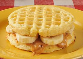 Peanut butter banana on a waffle