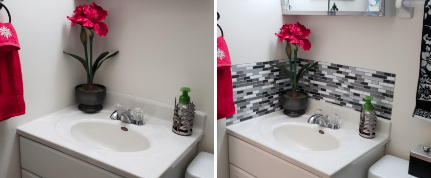 Reviewer's bathroom with the tile applied above the sink for natural looking backsplash