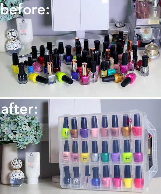 A product photo showing before: a messy pile of lots of nail polish and after: all the nail polish bottles lined up neatly in the case's grid