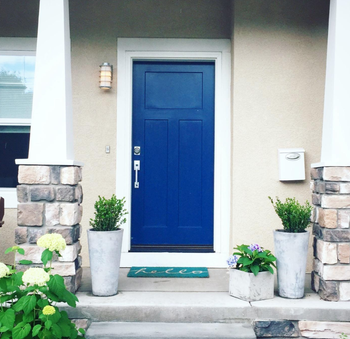 Reviewer's front door painted in a bold blue