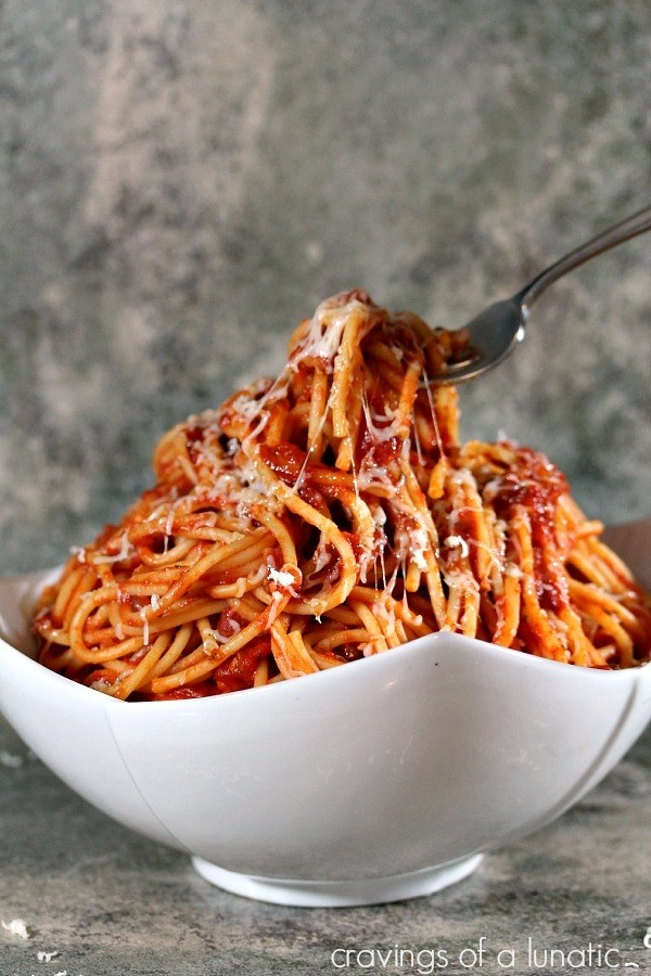 This hearty pasta is based on just a few simple ingredients: guanciale (a cured meat made from pork cheeks), pecorino cheese, tomatoes, and sometimes onions. This version uses pancetta instead of guanciale, which can be found in most grocery stores and gives the sauce a similar salty/savory flavor. Get the recipe.