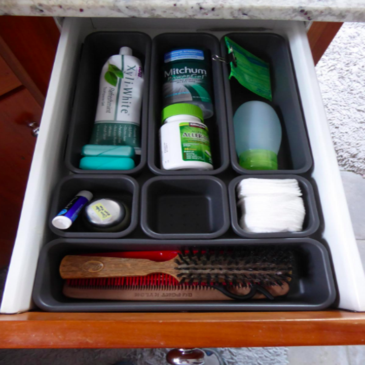 Organized drawer of toiletries