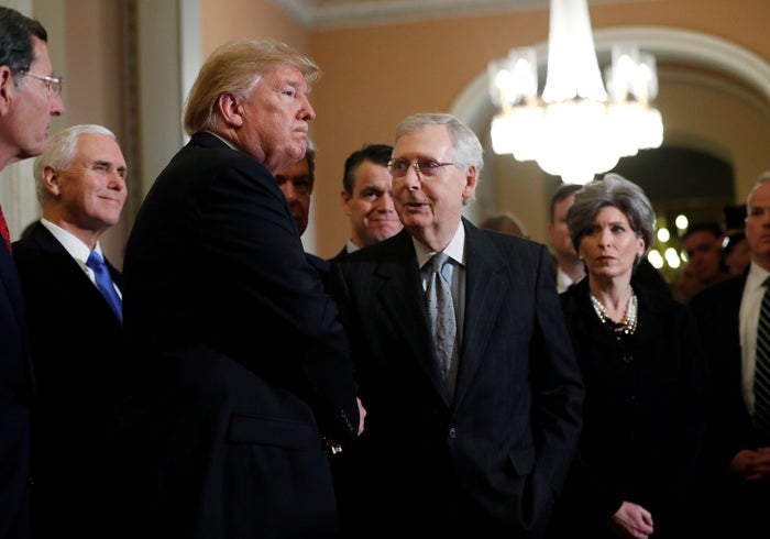 President Donald Trump and Senate Majority Leader Mitch McConnell after a meeting with Republicans Wednesday.