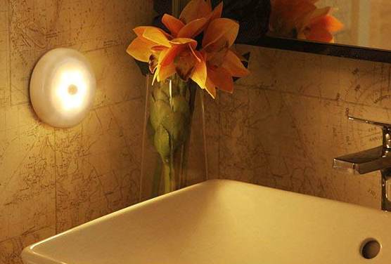 The motion-sensor night light in a person's bathroom