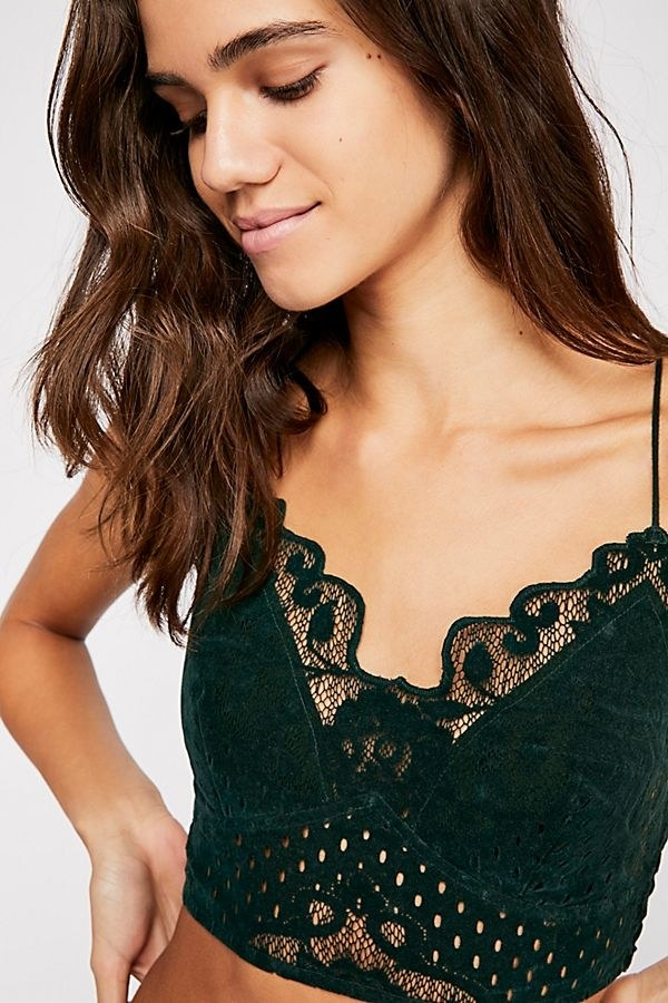 "Promising review: ""I bought this in black and I love the soft velvet. It's perfect! It holds in my breasts, while looking super cute when peeking out of deep V-neck shirts or sweaters. It feels comfy, but is supportive. I recommend!"" —BaileycatPrice: $24 (originally $48; available in sizes XS-L and two colors)"